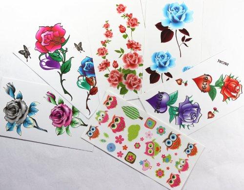 Combineshopping ultimo nuovo design impermeabile non tossico combinazione autoadesivi provvisori del tatuaggio di vendita caldo 6pcs/package diversi disegni , che comprende vari fiori colorati / rose / farfalle / uccelli del fumetto / api / coniglio / etc . )