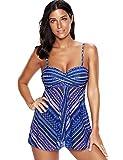 KamiraCoco Bikini Damen Sommer Rock Badebekleidung Bunten Tankini mit Hotpants Große Größe Bademode Badeanzug (XXXXL (EUR 46-48), Blau)
