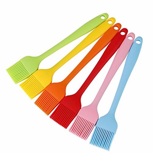 QH-shop Silikon Backpinsel Hitzebeständige Grillpinsel Mehrfarbig Weich Öl Küchen Pinsel Perfekt für BBQ Backen Kochen 6 Pack