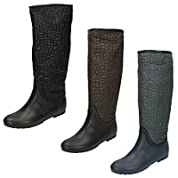 Spot On Womens/Ladies Crocodile Design Wellington Boots