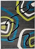 Kleiner Moderner Designer Teppich - Dichter Und Dicker Flor - Anthrazit Grün Blau Weiß - 80 x 150 cm - Abstraktes Muster - 3D-Effekt Konturenschnittt Orlando Kollektion von Carpeto