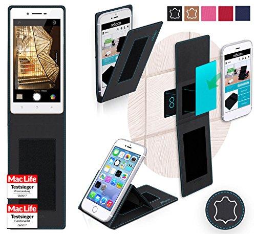 reboon Hülle für Oppo Neo 7 Tasche Cover Case Bumper | Schwarz Leder | Testsieger