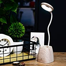 HOME CUBE Touch 3 Brightness Level Control 2.5W 18 LED Table Lamp with Mobile and Penholder (Wood)