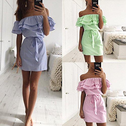 Longwu Mode Frauen aus Schulter Rüschen Gestreifte Casual Quaste A-Linie Kleid mit Gürtel Grün
