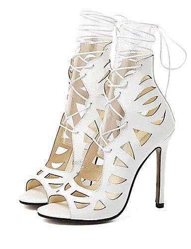 UWSZZ IL Sandali eleganti comfort Scarpe Donna-Sandali-Formale / Serata e festa-Tacchi / Spuntate / Plateau-A stiletto-Finta pelle-Nero / Bianco White