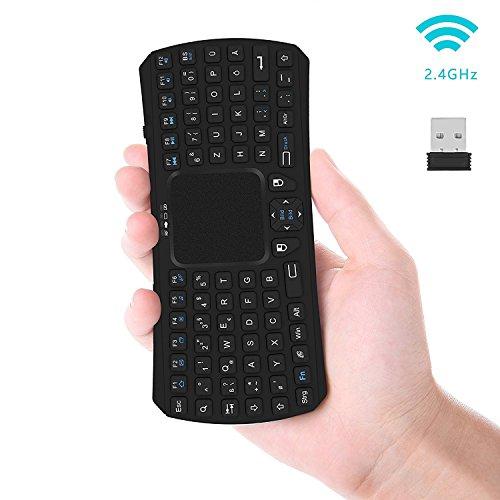 Wireless Mini Tastatur, Jelly Comb 2.4G Kabellose Tragbare Handheld Multimedia Tastatur Deutsches Tastaturlayout (QWERTZ Layout) für Smart TV Box, Smart TV, Mini PC, PC, Tablets und Smartphones (Handheld-maus)