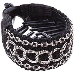 SODIAL (R) Schwarz + Silber Modische Damen Haarklammer Haarspange Pferdeschwanz-Halter