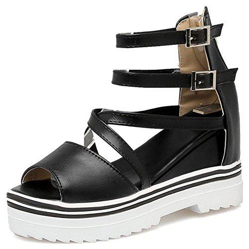 COOLCEPT Femmes Mode Cheville Sandales Orteil Ouvert Augmentation Chaussures SM Noir
