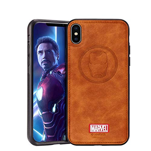 DIEYING Marvel Avengers Leather Case Designed for iPhone XS/X, Iron Man Protective Phone Case