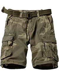 MUST WAY Men's Multi Pocket Loose Fit Cotton Twill Cargo Shorts