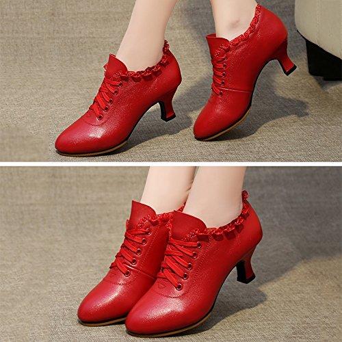 PENGFEI Tanzschuhe Schuhe Lateinischer Tanz Stiefeletten Frühling Und Sommer Mittlerer Absatz Atmungsaktiv Erwachsene Damen 2 Farben (Farbe : Rot, größe : EU39/UK6/L:245mm) - 2