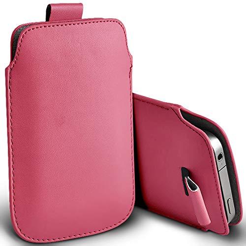 I-Sonite (Baby Pink) Premium Slip-in Pull-Tab Ärmel Kunstleder Tasche Hülle für vivo Y91 [XXXL]