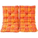 Ambientehome - Juego de 2cojines y respaldos para silla Hanko, aprox. 50x98x8cm, cojines acolchados, Kariert Orange