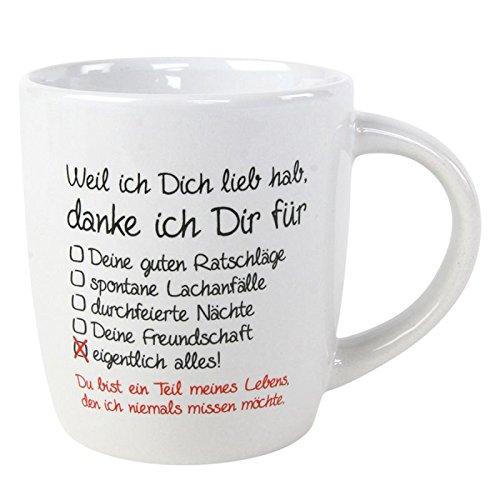 Annastore Tasse - Weil ich Dich lieb hab, Danke ich Dir für - Danketasse Kaffeebecher Becher