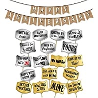 Party Propz Happy Anniversary Combo of Banner with Photo Booth for Anniversary Decoration