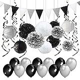 Decorazioni per feste nere e argentate Carta velina Pomop Lanterne di carta Pennant Banner Swirls Pack per festa di compleanno, addio al nubilato, pensionamento, decorazioni per la laurea