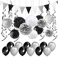 Idea Regalo - Decorazioni per feste nere e argentate Carta velina Pomop Lanterne di carta Pennant Banner Swirls Pack per festa di compleanno, addio al nubilato, pensionamento, decorazioni per la laurea