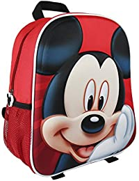 Mickey Mochila Infantil 3D Mickey Mochila infantil, 31 cm, Rojo