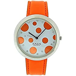 Zaza London Orange PU Strap Ladies & Orange Spotty Dial Fashion Watch LLB850