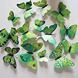 12pcs 3D Art Butterfly Decal Wall Sticker Home Decor Room Decoration (Green)