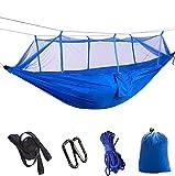 Defeng Camping Hängematte Fallschirmseide Ultraleichte Nylon Reisehängematte 260*140CM Aufbewahrungs Moskitonetz Blau