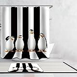 Beddingleer Cortina De Baño Cortina De Ducha Impermeable y Resistente al Moho PEVA Secado Rápido Impreso Digital Bañera Cortina Accesorios de Baño con Ganchos,180cm * 200cm,Tema Animal,Pinguino