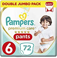 Pampers Premium Care Pants Diapers, Size 6, Extra Large, 16kg, Double Jumbo Pack, 72 Count
