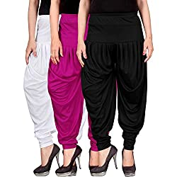 Culture the Dignity Womens Lycra Dhoti Patiala Salwar Harem Pants CTD_00WM1B_2-WHITE-MAGENTA-BLACK-FREESIZE - Combo Pack of 3