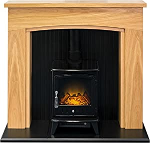 Adam Turin Stove Suite in Oak & Black with Aviemore Electric Stove in Black, 48 Inch