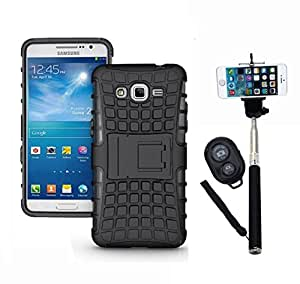 Hard Dual Tough Military Grade Defender Series Bumper back case with Flip Kick Stand for Samsung G530 + Wireless Bluetooth Remote Selfie Stick for all Smart phones by carla store.