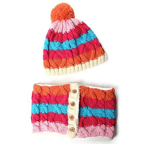 Chapeau foulard ensemble de deux de l'enfant/chapeaux d'hiver pour garçons/doux tricot laine Cap à chaud A