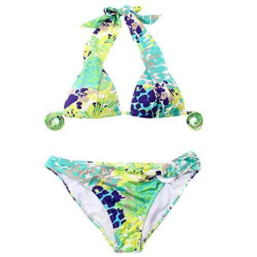 Imported Colloyes Floral Triangle Top w/ Classic Cut Bottom Bikini Swimwear Size M