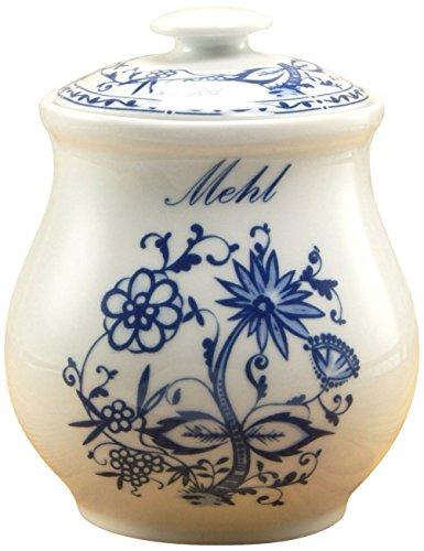 Creatable 15337, Storage Container Flour Vorratsdose, Zwiebelmuster, Porzellan, blau 11 x 11 x 14 cm