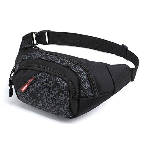 CaaCoo Tasche Hüfttasche 3 Reißverschluss Taschen Reisen Wandern Outdoor Sport Bum Tasche Urlaub Geld Hip Pouch Pack (schwarz) Hund Behandeln Gläser