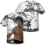 Bruce Lee - Jugend Schaukampf (vorne / hinten Print) T-Shirt, Medium, White