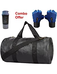 SKYSONS Gym Bag Combo Set Enclosed With Soft Leather Gym Bag For Men And Women For Fitness - Bag Size 49cm X 24cm... - B07DYMXGWB
