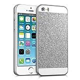 kwmobile Hülle für Apple iPhone SE / 5 / 5S - Backcover Case Handy Schutzhülle Kunststoff - Hardcase Cover Glitzer Rechteck Design Silber Weiß