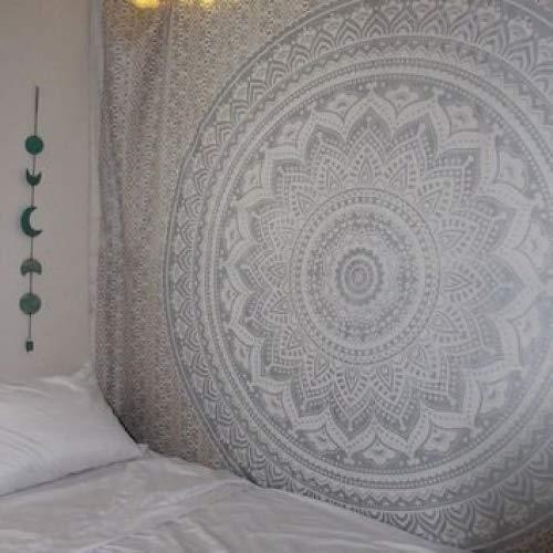 "Grau Ombre Tapestry von JaipurHandloom \""Mandala-Tapisserie, Königin, Multi Color Indian Mandala-Wand-Kunst, Hippie Wandbehang, Bohemian Bedspread"