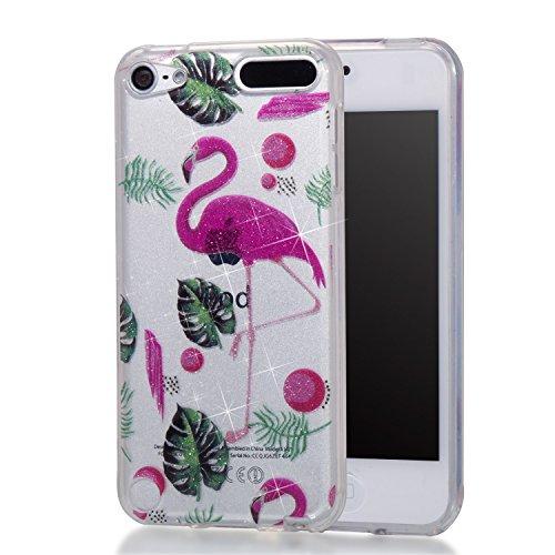 Hozor iPod Touch 5/Touch 6 Hülle, Glitzer Design Muster Crystal Glänzende Soft Flex Premium TPU Silikon Durchsichtig Bumper Case Cover Dünn Schlank Handyhülle Kratzfest Schutzhülle (Rote Flamingos)
