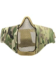 Waycreat 6-Inch Tactical Foldable Half Face Mask Protective Mesh Mask for Airsoft Paintball CS with Adjustable and Elastic Belt Strap