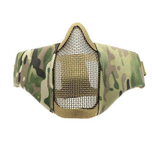 (Waycreat Taktische Faltbare Halbe Gesichtsmaske Schutz Mesh Maske Für Airsoft Paintball CS Mit Werstellbaren Und Elastischen Gurtband)