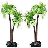 ShareLot 2x künstlich Kokospalme plastik Pflanze für Aquarium Deko Fisch Tank -9cm Höhe