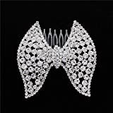 MingXinJia Bridal Tiara High-End Simple Large Bow Set with Diamond Glass Alloy Comb Wedding Dress, Silver