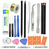 ACENIX® 19 in 1 Opening Repair Pry Tool Set Spudger Tweezers Nylon Plastic Opener Screwdrivers [ Professional 19 Pcs Tools iN Kit Life Time Hard Plastic Case Bag ] by ACENIX®