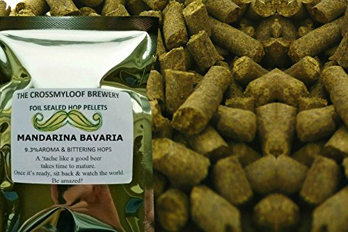 50g of Mandarina Bavaria Hop Pellets. 9.3 % AA - 2016. CO2 Flushed for Freshness and Cold Stored (Liberty-mail Post)