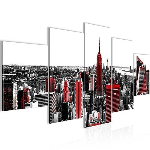 Bilder New York Stadt Wandbild 200 x 100 cm Vlies - Leinwand Bild XXL Format Wandbilder Wohnzimmer Wohnung Deko Kunstdrucke Rot Grau 5 Teilig - MADE IN GERMANY - Fertig zum Aufhängen 003751a
