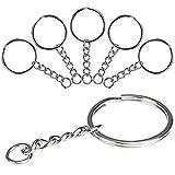 LIHAO Schlüsselringe mit Kette Schlüsselanhänger Keyring Chain 25mm Edelstahl (60 Stück mit...