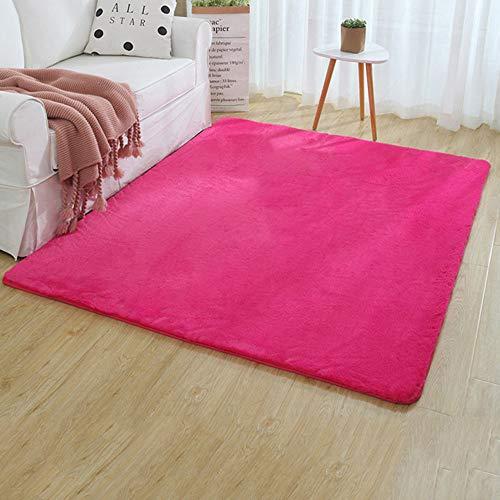 Imitation Kaninchen Pelz Teppich-Rutschfester Boden Mat Home Living Room Bedroom Teppich-Thickening,Red,100cm*200cm ()