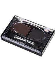 SODIAL(R) Eyebrow Stencils & Multi Color For Waterproof Eyebrow Shaping Powder Eyeshadow - Coffee and Black