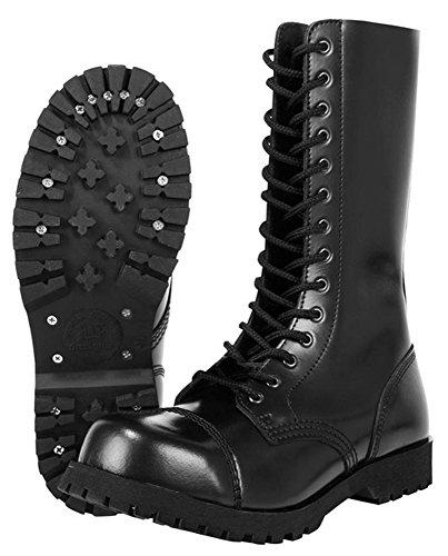 Boots & Braces Bottes rangers avec lacets 14 trous, Noir Noir - Noir